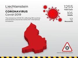 mappa del paese colpita dal Liechtenstein del coronavirus