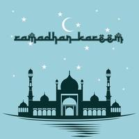 poster di Ramadan Kareem in blu con moschea e cielo