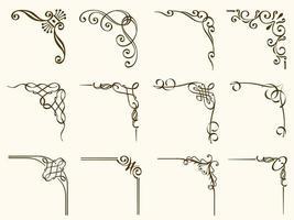 set di cornici angolari marroni decorativi