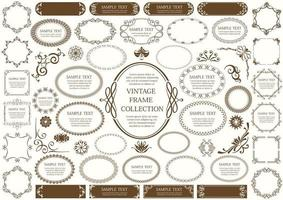 segno vintage marrone e set cornice circolare