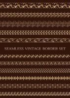 set di bordi vintage senza soluzione di continuità d'oro vettore