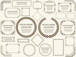 corona marrone vintage e set di cornici vettore