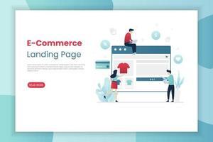 landing page di e-commerce con persone che fanno shopping vettore