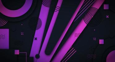 sfondo viola con strati e forme geometriche vettore