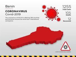 Benin mappa del paese interessato del coronavirus vettore
