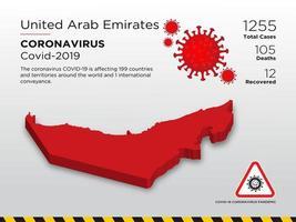 emirati arabi uniti interessati mappa del paese di coronavirus vettore