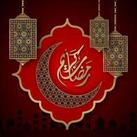 Ramadan Kareem ornato di luna e lanterne su rosso