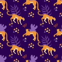 Ghepardo e giaguari viola senza cuciture vettore