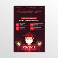 poster informativo di coronavirus con uomo in maschera