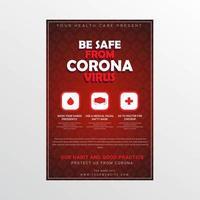 poster di consapevolezza medica coronavirus modello di virus rosso