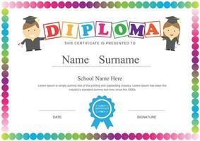 diploma di bambini con cornice cerchio arcobaleno vettore