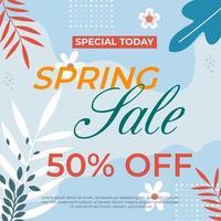 banner web vendita fogliame colorato primavera vettore