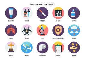 set di 15 icone di pulizia e altri virus