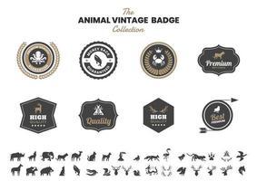 distintivo vintage con polpo e altri animali vettore