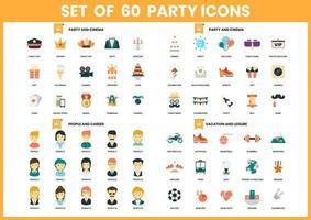 set di 60 icone di intrattenimento, carriera e tempo libero vettore