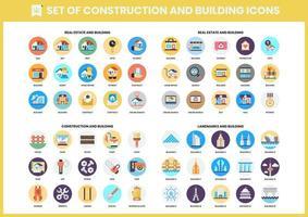 set di 60 icone edificio e punto di riferimento vettore
