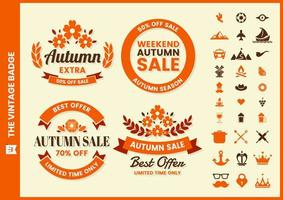 set di badge circolare vendita retrò autunno