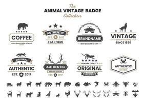 Distintivo vintage con orso e altri animali vettore