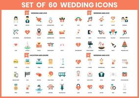 set di 60 icone di matrimonio, amore e vacanze