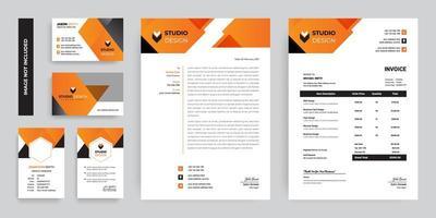 set di branding design ad angolo arancione e grigio vettore
