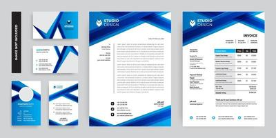 set di branding design blu ad angolo incrociato vettore