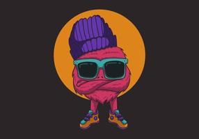 mostro rosa freddo nell'illustrazione degli occhiali da sole vettore