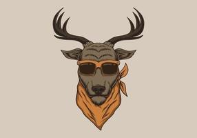 testa di cervo che indossa occhiali da sole illustrazione vettore