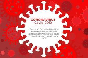 poster rosso che descrive il coronavirus vettore