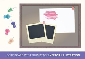 Cork Board con illustrazione vettoriale Thumbtacks