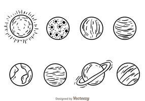 Icone disegnate a mano di pianeti vettore