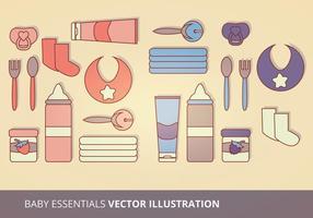 Illustrazione di vettore di Essentials del bambino