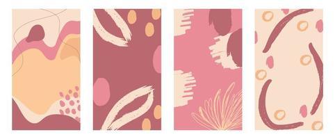 collezione di copertine astratte pennellate rosa e beige vettore