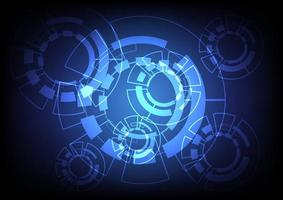 ingranaggio blu e tecnologia design futuristico vettore