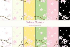 motivi floreali sakura senza soluzione di continuità vettore