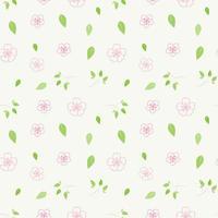 fiori rosa e motivo a foglie verdi vettore