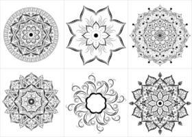 set di mandala fiore contorno nero vettore