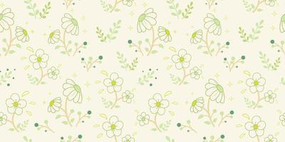 fiori bianchi con motivo a boccioli verdi vettore