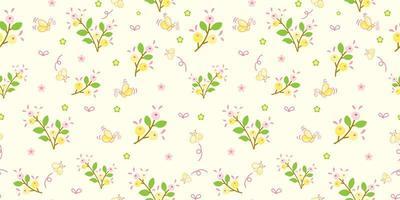 fiori gialli e motivo a foglie verdi vettore