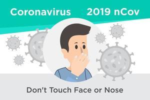 non toccare il poster promemoria per viso o naso