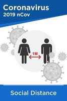 poster sociale di distanza con simboli maschili e femminili vettore