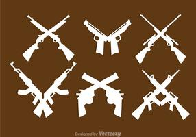 Icone di pistole incrociate vettore