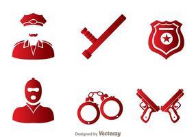 Set di icone vettoriali di polizia