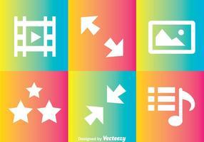 Icone del lettore multimediale arcobaleno vettore