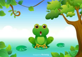 Vettore verde della rana di albero del fumetto libero