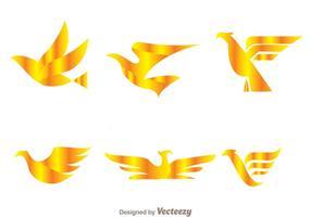 vector loghi dorati di uccelli