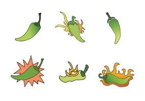 Serie di Green Hot Pepper Vector gratuita