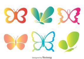 Icone di colore farfalle vettore