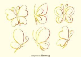 Icone di contorno farfalla vettore