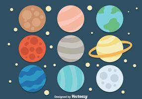 Icone del pianeta dei cartoni animati vettore