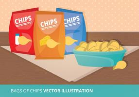 Illustrazione di vettore di sacchetti di patatine fritte